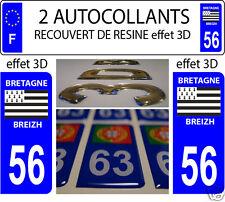2 STICKERS RECOUVERT DE RESINE PLAQUE IMMATRICULATION DEPARTEMENT MORBIHAN 56