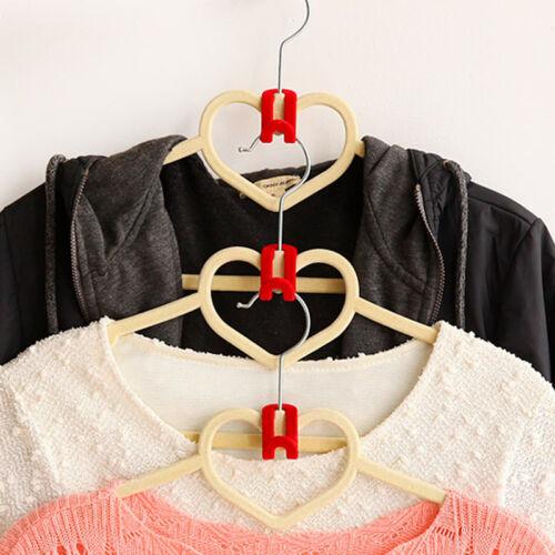 10PCS Charm Useful Home Mini Flocking Clothe Hanger Connection Hook Organizer UK