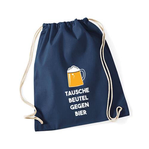 """Baumwoll Turnbeutel mit Spruch Motiv /"""" tausche Bier gegen Beutel /""""  Gym Bag"""