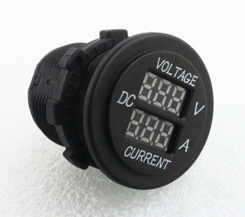12V 24V Red Digital 2 IN 1 Battery Monitor Voltmeter /& Current Tester Meter