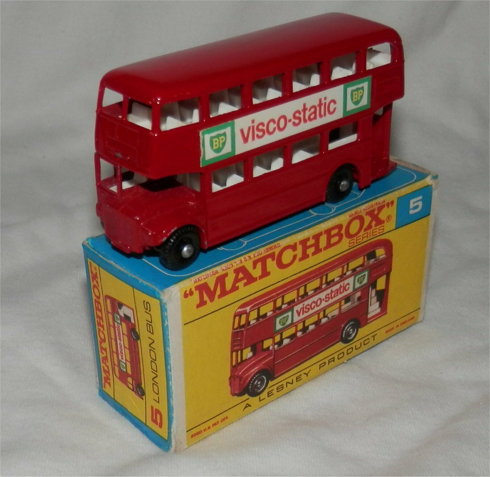 1960s Matchboox.LESNEY.5.London Bus mint in rare late F Type box.ORIGINAL
