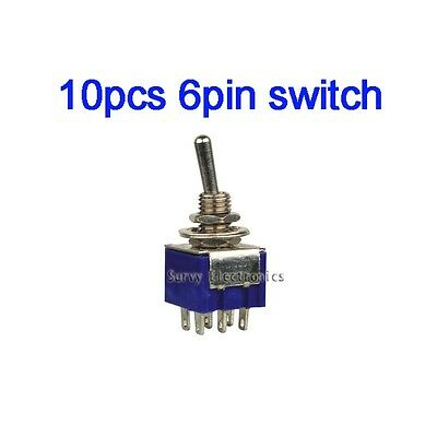 10Pcs 6-Pin SPDT ON-ON Toggle Switch 6A 125V AC