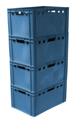 4 St E3 Eurokiste Transportkiste Gemüsesteige  60x40x30 cm  blau NEU Gastlando