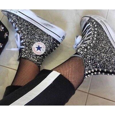 Converse All Star Platform Glitter Nere Hi [Prodotto Personalizzato] Scarpe Borc   eBay