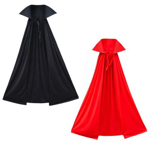 "40/"" Black Cape with Stand-Up Collar ~ ADULT//CHILD VAMPIRE SUPERHERO COSTUME CAPE"