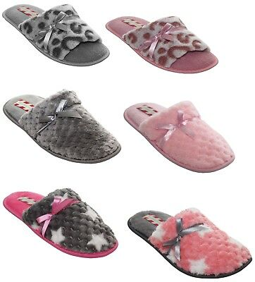 New Ladies Furry Soft flat Mule Warm comfort womens Slippers shoes Sizes uk3-8