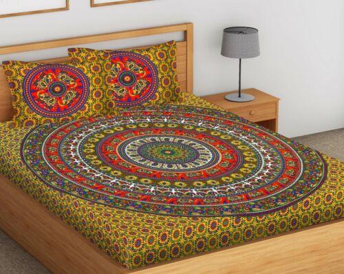 Indian Elephant Mandala Cotton Double  Size Jaipuri Bed Sheet With 2 Pillow sk