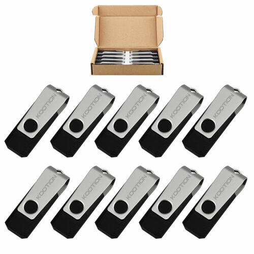 10 Pcs 16GB Black USB Flash Drives Swivel Anti-skid Memory Stick Thumb Pen