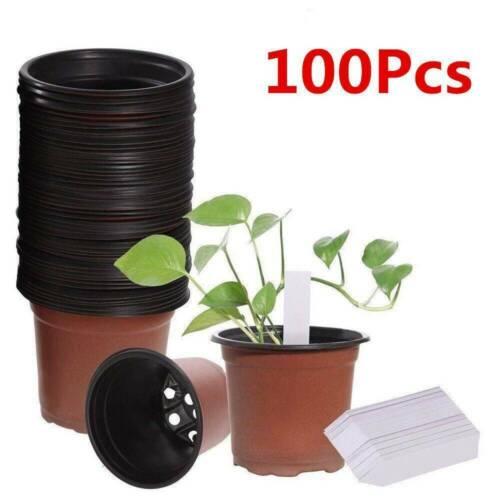 Details about  /100PCS Plastic Plant Flower Pots Nursery Garden Seedlings Starting Pot-Container