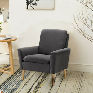Black-Modern-Design-Accent-Fabric-Chair-Single-Sofa-Comfy-Upholstered-Arm-Chair