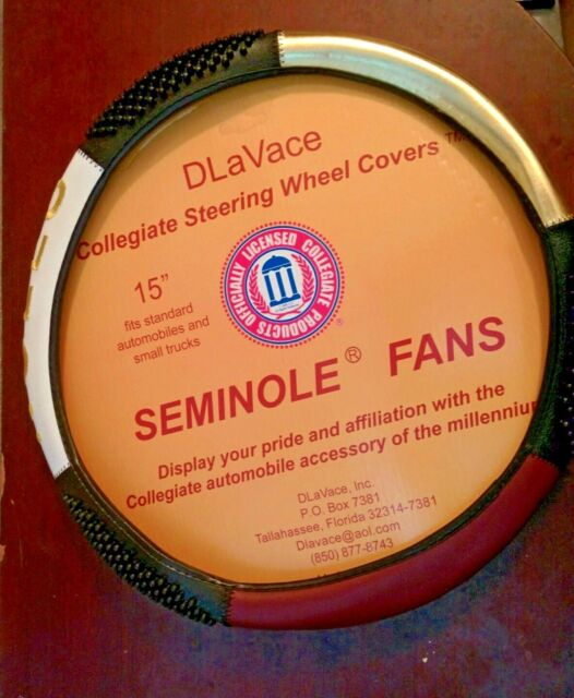 NCAA FLORIDA STATE SEMINOLES GARNET & GOLD EMBROIDERED LOGO STEERING WHEEL COVER