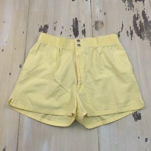 Hobie Vtg 80s High Waist Short Length Yellow Surf Skate Shorts