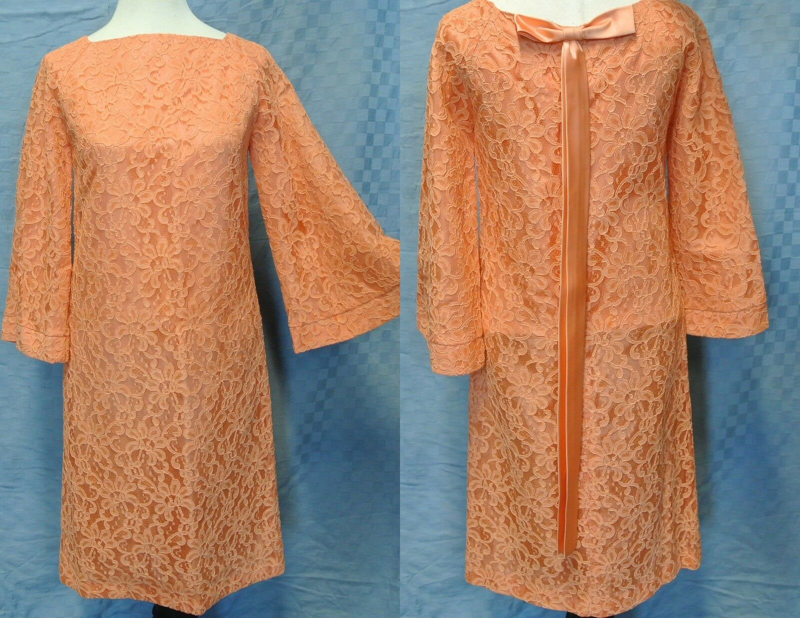 VINTAGE Hippie 60's Lace Evening Party Dress Pagoda Bell Sleeves Audrey Size 7