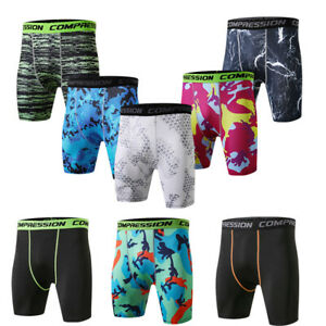 Men-039-s-Athletic-Shorts-Workout-Running-Jogging-Camo-Compression-Trunks-Tight-fit