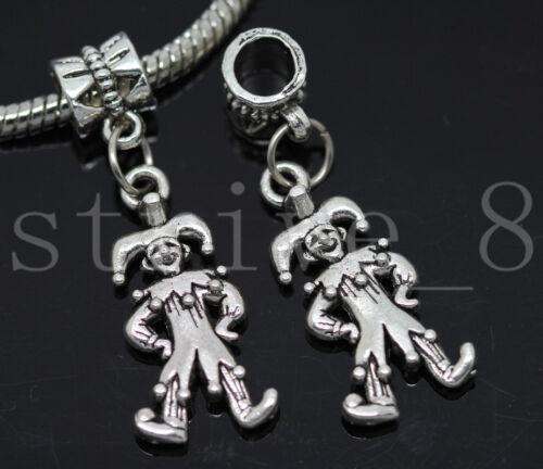 Lot 6//30//150pcs Tibetan Silver Clown Bulk Lots Dangle European Charms Bracelet