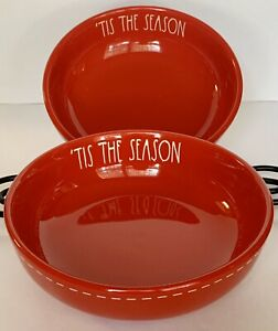 Rae-Dunn-Set-Of-2-TIS-THE-SEASON-Pasta-Bowls-Xmas-Red-Ceramic-LL-Farmhouse