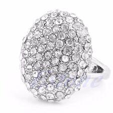 *uk* Ladies 925 silver pltd Crystal Diamante Wedding Ring Gift Jewellery Size N