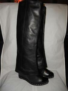 f09036004cb CHANEL Black Leather Chain Wedge Heel Foldover Knee High Tall Pant ...