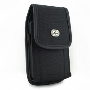 BLACK-VERTICAL-RUGGED-CANVAS-BELT-CASE-COVER-PROTECTIVE-POUCH-for-Smartphones