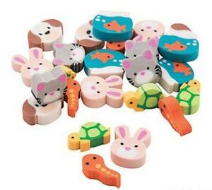 Pack of 24 - Mini Animal Pets Erasers - Rubbers Teacher Rewards