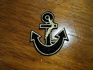 New nautical gold black anchor patches embroidered applique badge