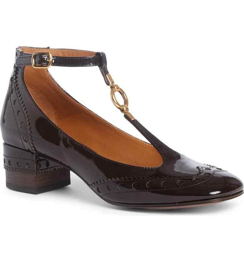 Chloe pour Femme Perry Bout D'Aile T-strap Escarpins Chaussures Nouveau Taille 38.5 8.5 Marron 795