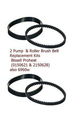 For Bissell ProHeat 8910//7901//7920//7950 Series 0150621 Vacuum Path Belt 2 Sets