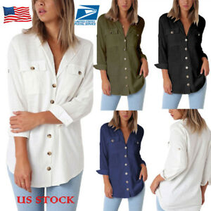 US-Womens-Linen-3-4-Sleeve-Long-Tops-Blouse-Button-Down-Solid-Casual-T-Shirts