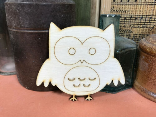 OWL SHAPES ENGRAVED WOODEN Multiple Sizes Wood Bird Blank Shape 2.5cm to 25cm