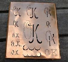 """Monogramm """" OK """" Wäschemonogramm Wäscheschablone Wäschezeichen 11/13 cm KUPFER"""