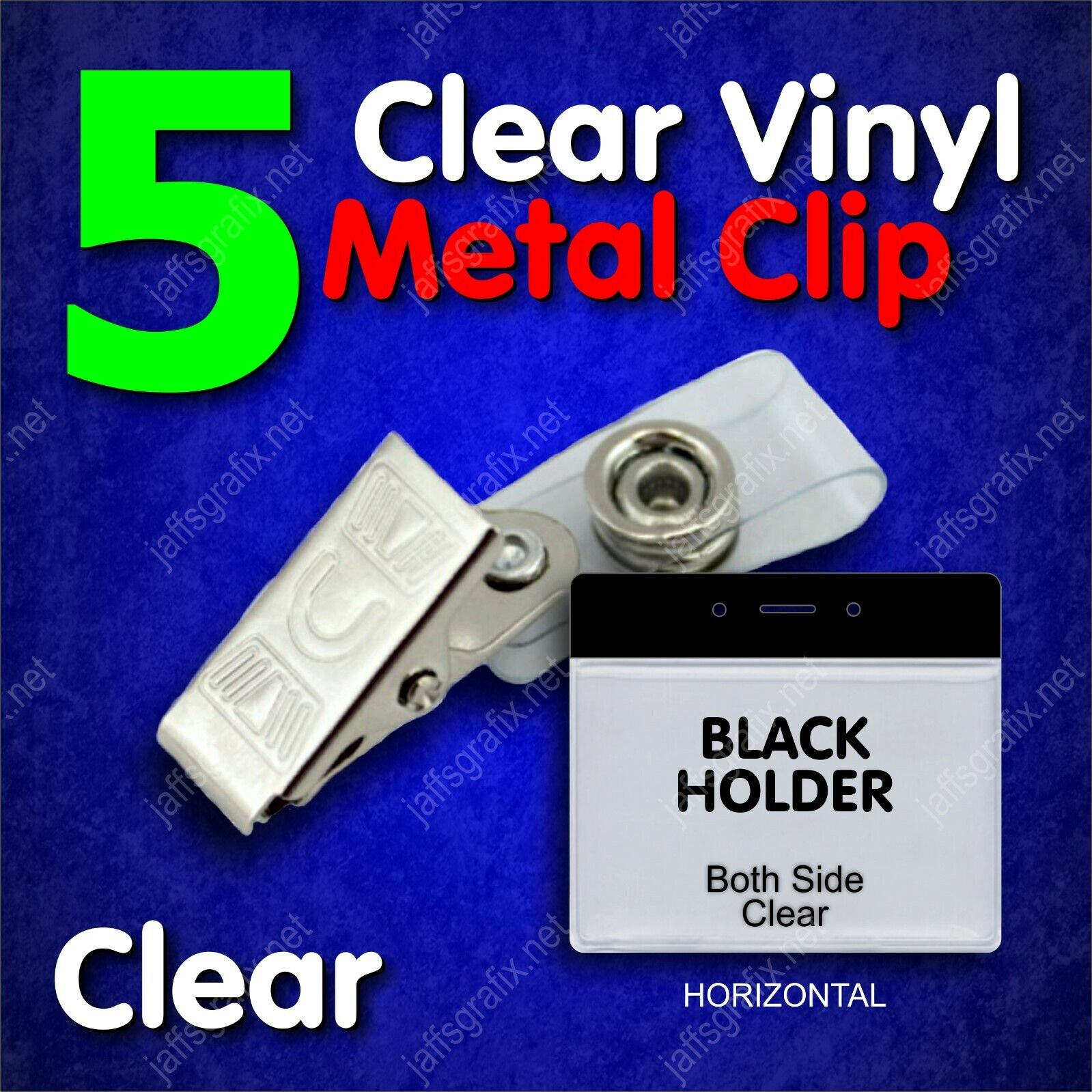 Clear Metal ID Badge Holder Clip with Black Holder Horizontal