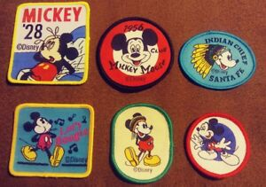 Walt-Disney-World-Lot-of-6-Mickey-Mouse-Vintage-Sew-on-Cartoons-Patches-NEW