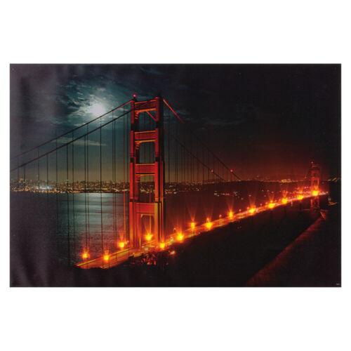LED-Bild Golden Gate Bridge 600x400mm auf Leinwand batteriebetrieb mit Schalter
