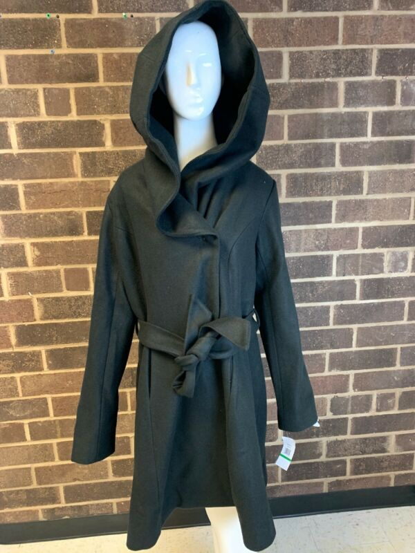 Expressive Nwt Jessica Simpson Rich Black Hooded Waist Tie Trench Coat Women's Size L
