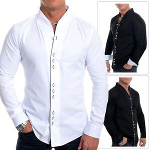 vendible último clasificado claro y distintivo Detalles de Hombre Largo Camisa Contraste Caño sin Cuello Casual Formal  Ajustado
