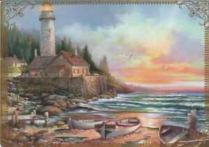 Modern-Wide-Lighthouses-P6-Lighthouse-And-Three-Boats-Swap-Playing-Card