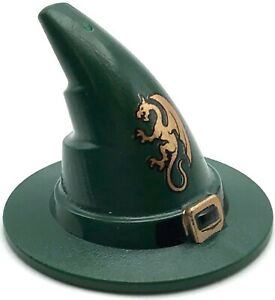 Lego New Dark Green Minifigure Headgear Hat Wizard Witch with Black Buckle Part