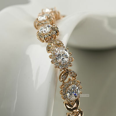 18k rose gold gf sparkling simulated diamond chain link bracelet
