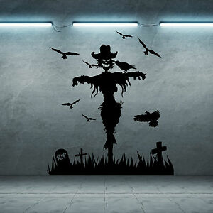 Image is loading SCARECROW-HALLOWEEN-GRAVEYARD-SPOOKY-SCARY-HORROR-vinyl- wall- & SCARECROW HALLOWEEN GRAVEYARD SPOOKY SCARY HORROR vinyl wall art ...