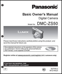 panasonic dmc zs50 basic digital camera user guide instruction rh ebay com panasonic user guides panasonic user guide -kx-tdg530