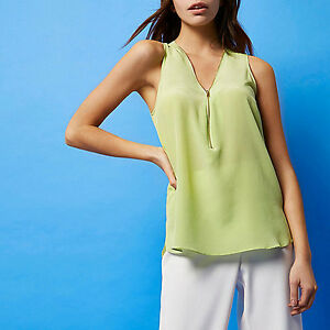 River Lime Silk Studio Brand Blouse Island New 10 Size Zip Ri OqxtOnr