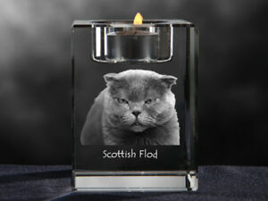Scottish Flod Crystal Candlestick With Cat Souvenir Crystal Animals Uk Ebay