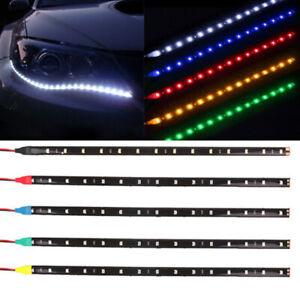 Decoracion-de-Coche-2-un-12V-12-LED-SMD-luz-de-tira-flexible-30cm-5050-W-accesorios-para-coches
