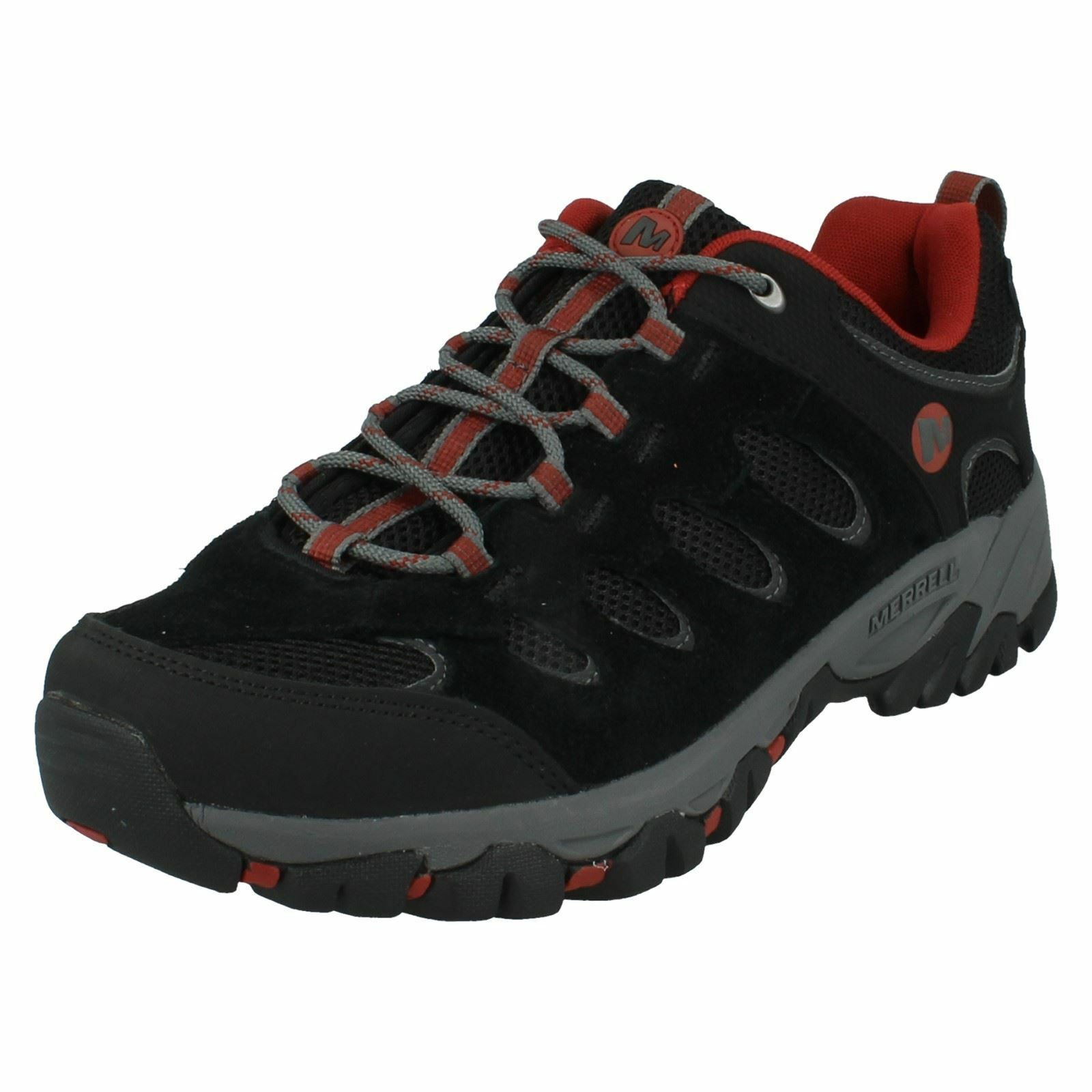Hombre MERRELL RIDGEPASS LACE WALKING UP SUEDE Negro/RED OUTDOOR WALKING LACE HIKING Zapatos a52717