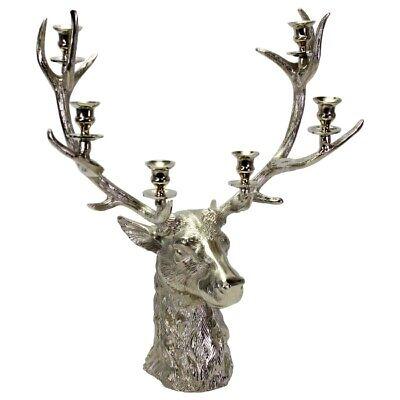 40 x 20 x 40,5 cm Kerzenhalter Hirschkopf Kerzenleuchter Kerzenständer silber