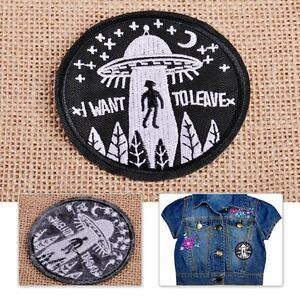 UFO-Alien-Patch-Embroidery-Applique-Flying-Saucer-Badge-Sew-Iron-On-Bag-Clothes
