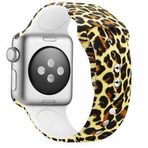 Women Band for New Apple Watch Band 38mm 40mm Silicone iWatch 5/4/3/2/1, Leopard