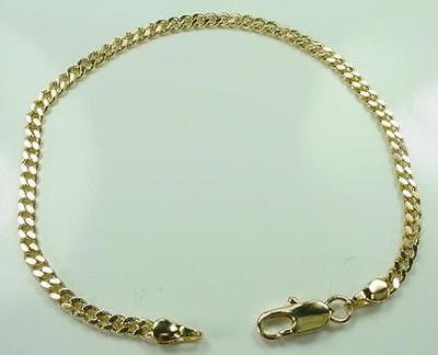 "New 7"" 18K Gold Plated Cuban Curb Link Chain Bracelet 2mm Lifetime Warranty"