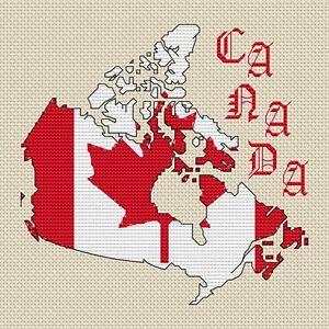 Canada Map Flag.Canada Map Flag Cross Stitch Design 15x15cm 6x6 Kit Or Chart