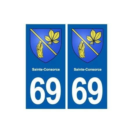 69 Sainte-Consorce blason autocollant plaque stickers ville -  Angles : droits